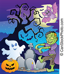 Scene with Halloween tree 6 - vector illustration.