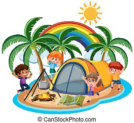 Scene with happy children camping out on the island
