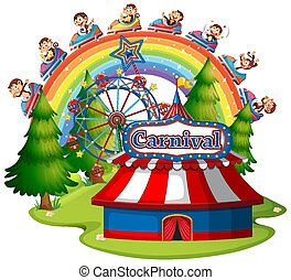 Scene with happy monkeys on the rides on white background
