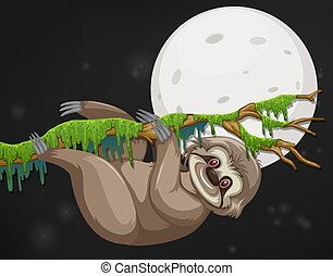 Scene with happy sloth hanging on the branch at night