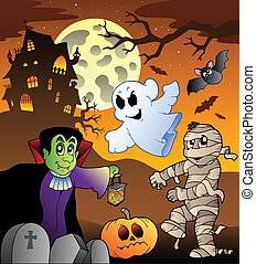 Scene with haunted house 1 - vector illustration.