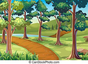 Scene with hiking trail in the woods illustration