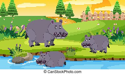 Scene with hippo in the open illustration