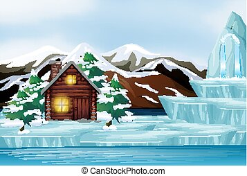 Scene with house in the snow mountain