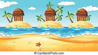 Scene with huts on island