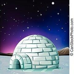 Scene with igloo at night