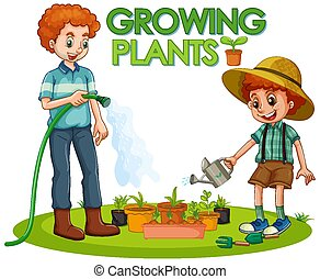 Scene with kid planting trees in the garden