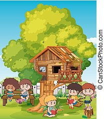 Scene with kids and treehouse