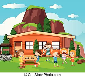 Scene with kids having picnic by the cottage