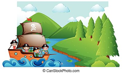 Scene with kids on pirate ship