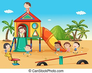 Scene with kids playing in the playground