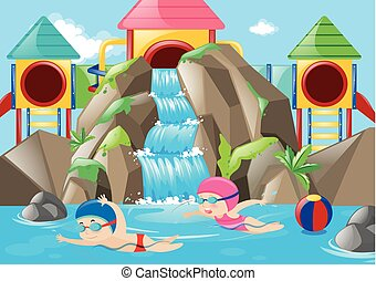 Scene with kids swimming in the water park