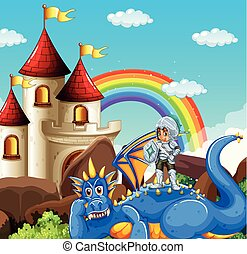 Scene with knight and blue dragon