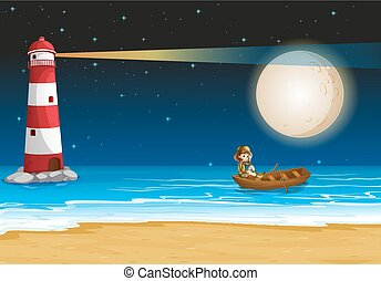Scene with lighthouse at night time