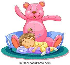 Scene with little girl sleeping with pink teddy bear