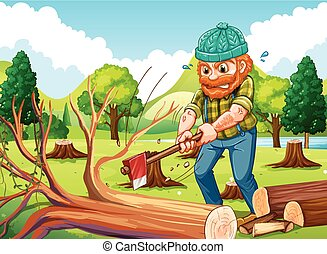 Scene with lumberjack chopping trees