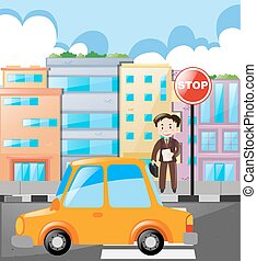 Scene with man and car on the road