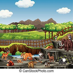 Scene with many animals in open