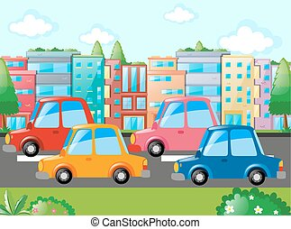 Scene with many cars on road