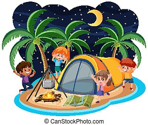 Scene with many children camping out on the island at night