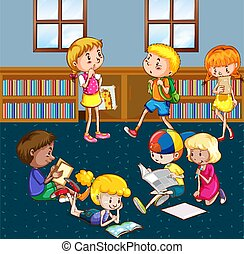 Scene with many children reading books in the library