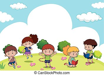 Scene with many kids doing different activities