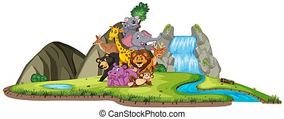 Scene with many wild animals by the waterfall on white background