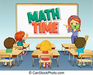 Scene with math teacher teaching in classroom