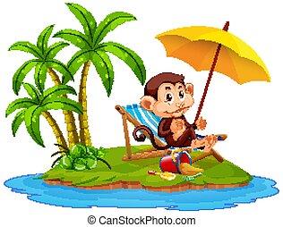 Scene with monkey sitting on the island on white background