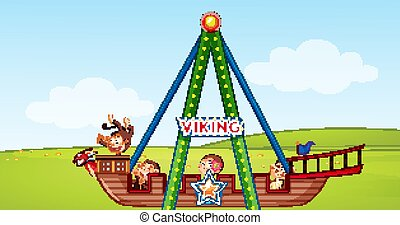 Scene with monkeys on circus ride in the park illustration