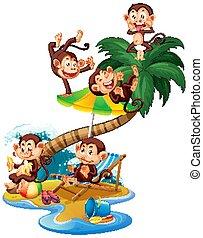 Scene with monkeys on the island on white background