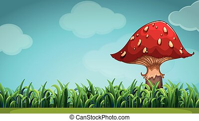 Scene with mushroom in the garden
