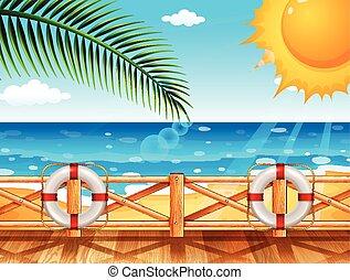 Scene with ocean in summer