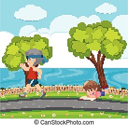 Scene with old man runing and girl reading in the park