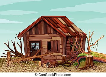 Scene with old wooden house in the field