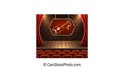 Scene with open curtains and golden guitar on signboard against decorative brick vintage wall with light from floodlights
