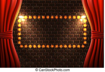 Scene with open curtains and retro glowing frame against...