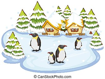 Scene with penguins on snow