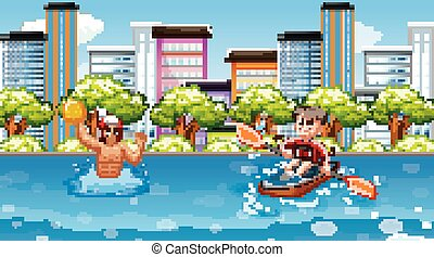 Scene with people doing water sport in the city