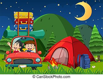 Scene with people driving and camping at night in the park