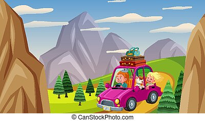 Scene with people driving car in the countryside