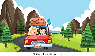 Scene with people driving in the countryside