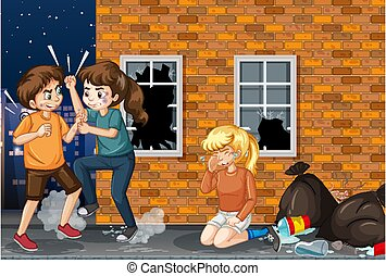 Scene with people fighting on the street at night