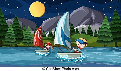 Scene with people sailing at night