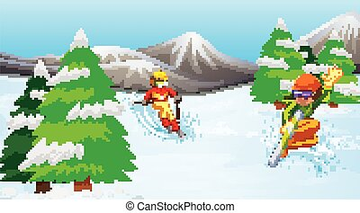 Scene with people skiing and snowboarding in the field
