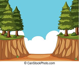 Scene with pine trees on the cliff