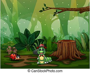 Scene with plants and insects in the garden illustration