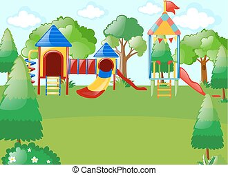 Scene with playground in park