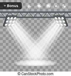Scene with projectors, spotlights on a transparent background. bonus