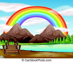 Scene with rainbow over the river